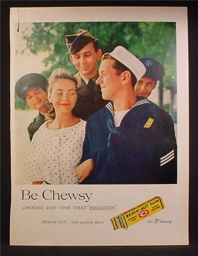 Magazine Ad For Beech-Nut Gum, Beech Nut, 4 Service Men with Pretty Woman, 1957