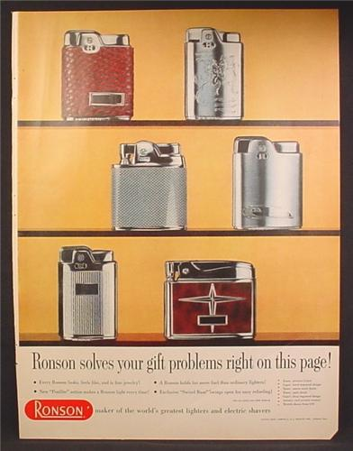 Magazine Ad For Ronson Lighters, 6 Models Pictured, Essex, Capri, Sport, Adonis, 1957