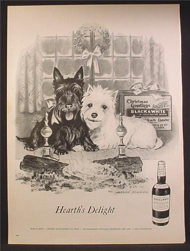 Magazine Ad For Black & White Scotch Whiskey, 2 Scotty Dogs by Fireplace, Morgan Dennis 1957