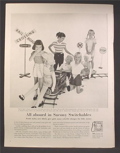 Magazine Ad For Sacony Switchables Children's Clothing, Kids On Large Ride on Train Railroad 1957