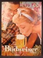 Magazine Ad For Budweiser Beer, Can Woman Sipping The Foam Off Of A Glass, 1957