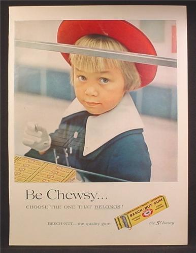 Magazine Ad For Beech-Nut Gum, Beech Nut, Little Girl with Red Hat Holding a Nickel, 1957