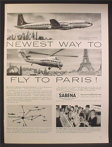 Magazine Ad For Sabena Belgian World Airlines, Douglas DC-7c Airplane, Helicopter, 1957