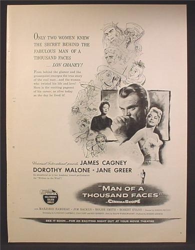 Magazine Ad For Man Of A Thousand Faces Movie, James Cagney, Dorothy Malone, 1957