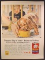 Magazine Ad For Friskies Dog Food, Puppy Eating, Douglass Crockwell Painting, 1957