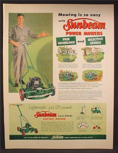 Magazine Ad For Sunbeam Power Mowers, Lawn Mowers Just 29 Pounds, 1957