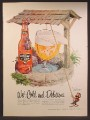 Magazine Ad For National Bohemian Light Beer, Bottle & Glass, Raising Out Of Well, 1957