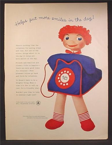 Magazine Ad For Bell Telephone System, Dolly Phone Doll by Bill Baird, 1957