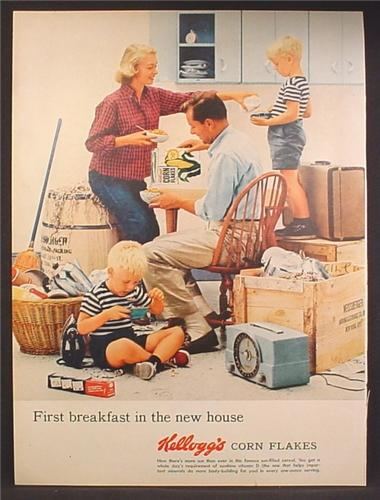 magazine ad for kelloggs corn flakes cereal family moving into new home 1957 - New Home Magazines