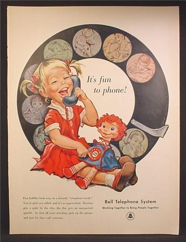 Magazine Ad For Bell Telephone System, Little Girl with Dolly Phone Doll, Large Dial, 1958