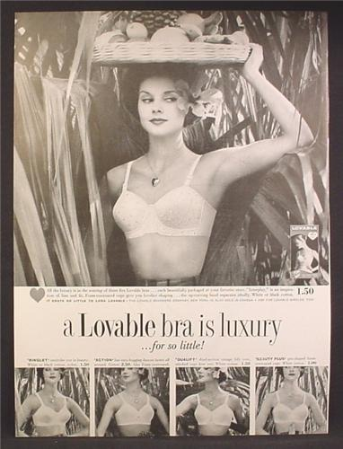 Magazine Ad For A Lovable Bra is Luxury For So Little, Woman in Bra with Basket, 1958