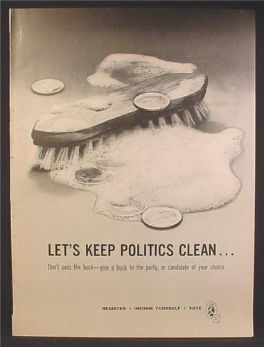 Magazine Ad For The American Heritage Fund, Let's Keep Politics Clean, Scrub Brush 1958