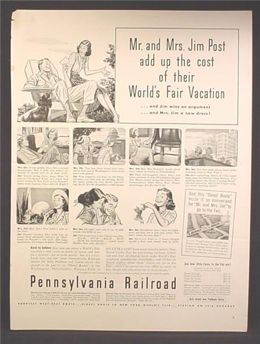 Magazine Ad For Pennsylvania Railroad, Couple Add Up The Cost of Their World's Fair, 1940