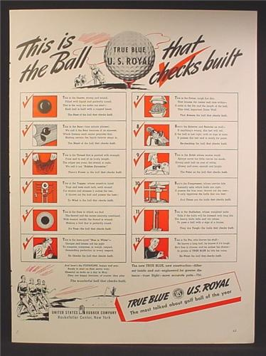 Magazine Ad For True Blue U.S. Royal Golf Ball, Most Talked About Golf Ball Of The Year, 1940
