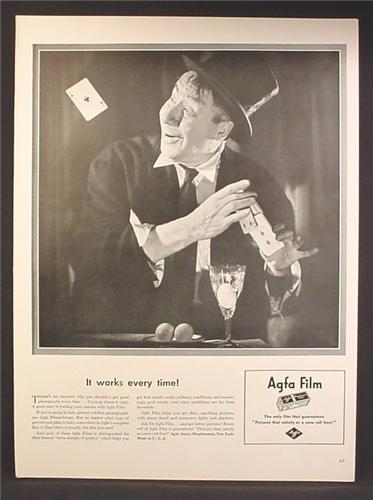 Magazine Ad For Agfa Film, Magician Doing Tricks, It Works Every Time, 1940