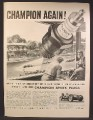 Magazine Ad For Champion Spark Plugs, Wilbur Shaw, Winner of Indianapolis 500, 1940