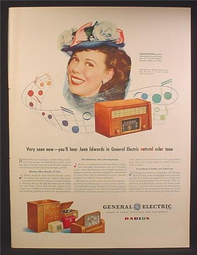 Magazine Ad For GE general Electric Radios, Joan Edwards, Celebrity Endorsement, 1945