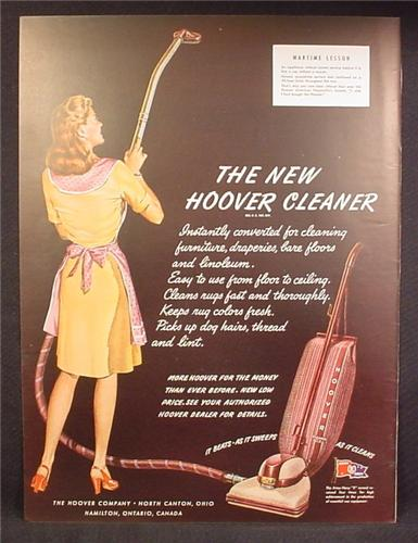 Magazine Ad For Hoover Vacuum Cleaner, It Beats As It Sweeps As It Cleans, 1945