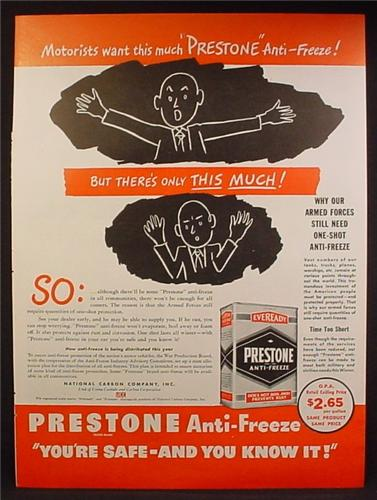 Magazine Ad For Eveready Prestone Anti-Freeze, End of WWII Shortage, 1945