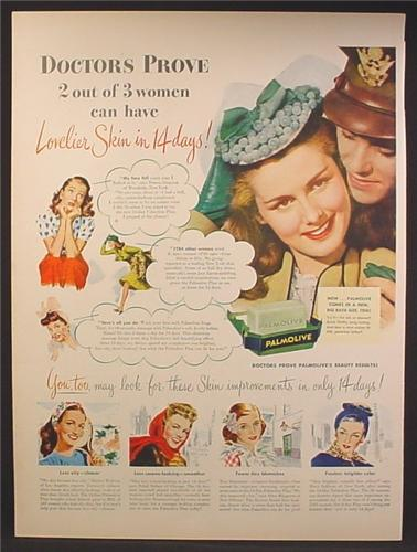 Magazine Ad For Palmolive Soap, Doctors Prove 2 Out Of 3 Women Can Have Lovelier Skin, 1945