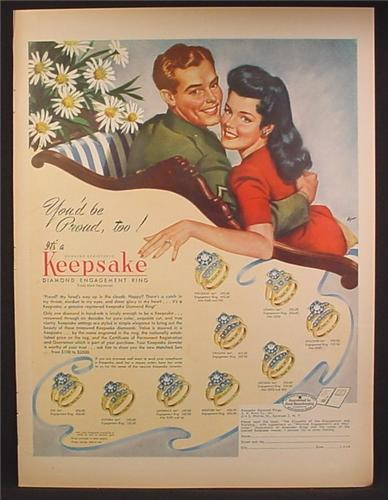 Magazine Ad For Keepsake Diamond Engagement Rings, Soldier & Fiance, 1945