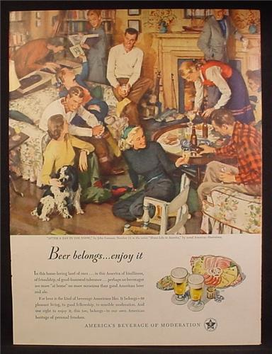 Magazine Ad For Beer Belongs, Number 11, After A Day In The Snow, John Gannam, 1947