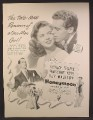 Magazine Ad For RKO Movie Honeymoon, Shirley Temple, One-Man Girl, Poster, 1947