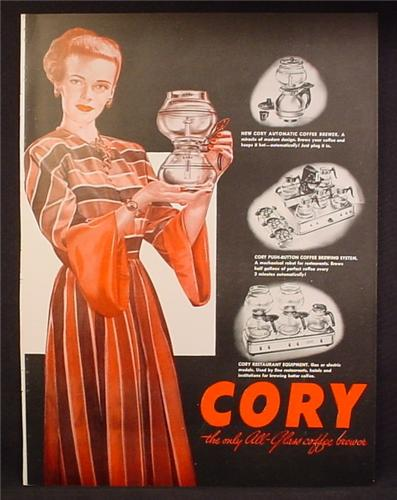 Magazine Ad For Cory The All-Glass Coffee Brewer, Restaurant Equipment, 1947