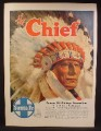 Magazine Ad For Santa Fe Railroad, The Chief, All Pullman Streamliner, Headdress, 1947