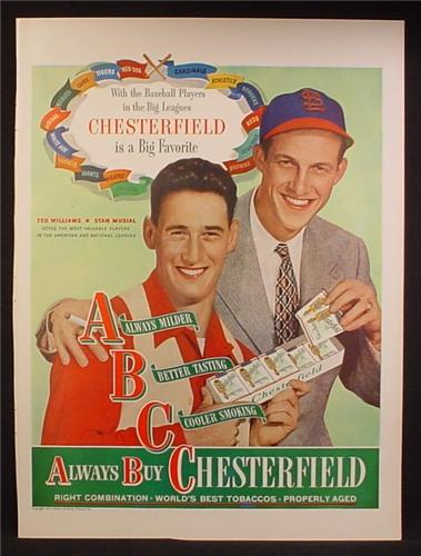 Magazine Ad For Chesterfield Cigarettes, Ted Williams, Stan Musial, Celebrity, 1947