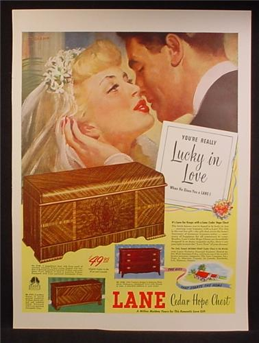 Magazine Ad For Lane Cedar Hope Chests, Bride & Groom, Lucky In Love, 1947