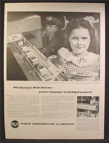 Magazine Ad For RCA Electronic Metal Detector for Commercial Use in Packaged Foods, 1947