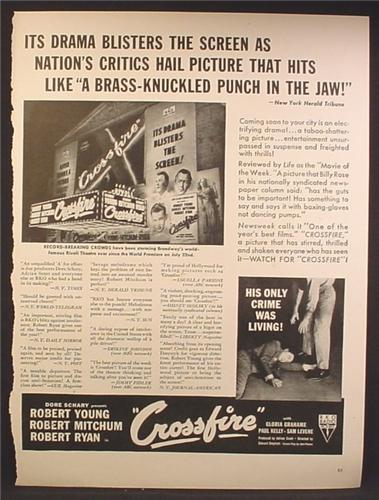 Magazine Ad For Crossfire Movie, Robert Young, Robert Mitchum, 1947