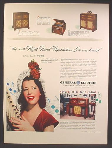 Magazine Ad For GE General Electric, Radios, Record Players, Cabinet Models. Lily Pons, 1947