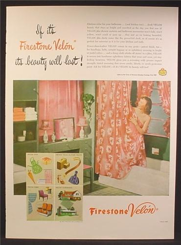 Magazine Ad For Firestone Velon Plastic, Woman in Tub Wrapped in Shower Curtain, 1947