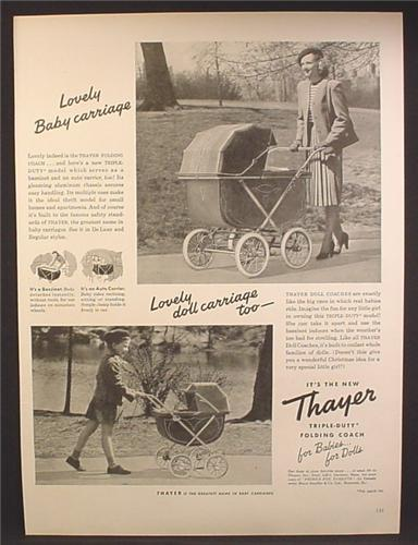 Magazine Ad For Thayer Baby Carriage, Also A Doll Carriage, Baby Buggy, 1947