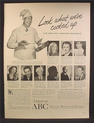 Magazine Ad For ABC American Broadcasting Radio Shows, 10 Stars Pictured, 1947