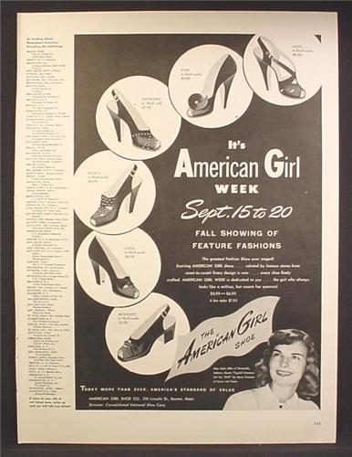 Magazine Ad For American Girl Ladies Shoes, 6 Styles Pictured, 1947