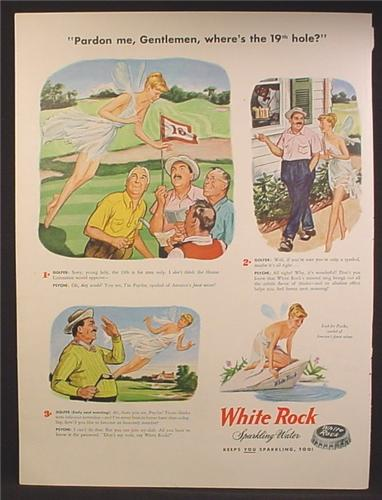 Magazine Ad For White Rock Sparkling Water, Semi Nude Psych Fairy, Golfers, 19th Hole, 1947
