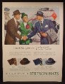 Magazine Ad For Stetson Hats for Men, People Greet in Front Of American Airlines Airplane 1947