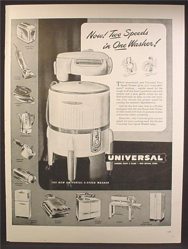 Magazine Ad For Universal 2 Speed Clothes Ringer Washer, Other Home Appliances, 1947
