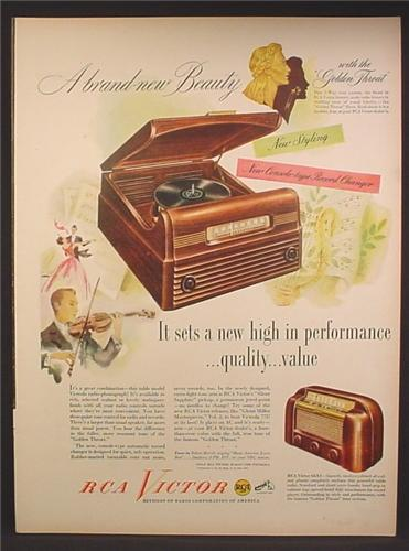 Magazine Ad For RCA Victor Record Player & Model 66X1 Radio, 1948