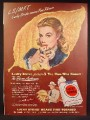 Magazine Ad For Lucky Strike Cigarettes, Pretty Woman In Front of Large Tobacco Leaf, 1948