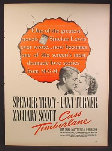Magazine Ad For Cass Timberlane Movie, Spencer Tracy, Lana Turner, Poster, 1948