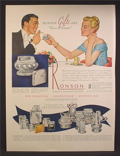 Magazine Ad For Ronson Lighters, 10 Different Models Pictured, 1948