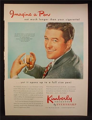 Magazine Ad For Kimberly Pockette Pen By Eversharp, Dennis Morgan, Celebrity, 1948