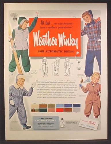 Magazine Ad For Weather Winky Snow Suits for Children, Sno-Suits, 1948