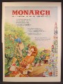 Magazine Ad For Monarch Nationally Distributed Finer Foods, Stacks Of Cans, 1948