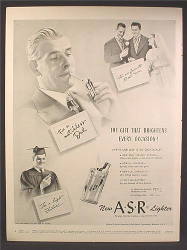 Magazine Ad For ASR Lighter, Opens & Lights Automatically, 1948