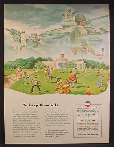 Magazine Ad For US Army & Air Force Recruitment, Schoolyard Full Of Kids, Soldiers, 1948